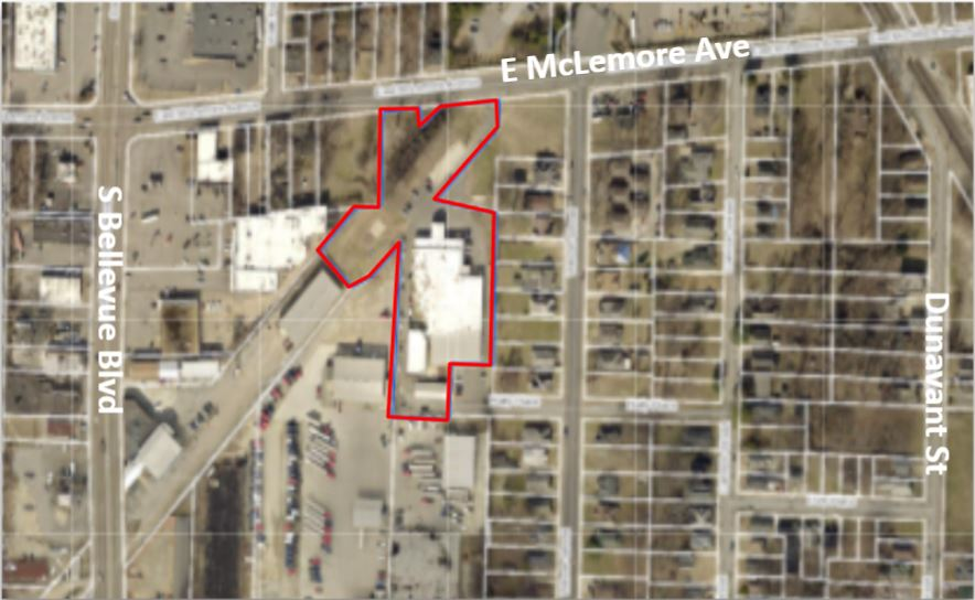 1299 E McLemore Aerial with Outline